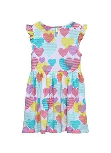Silversun Kids Kız Çocuk Karışık Desen Kalp Desenli Kolları Fırfırlı Örme Elbise Ek 218113 Renkli